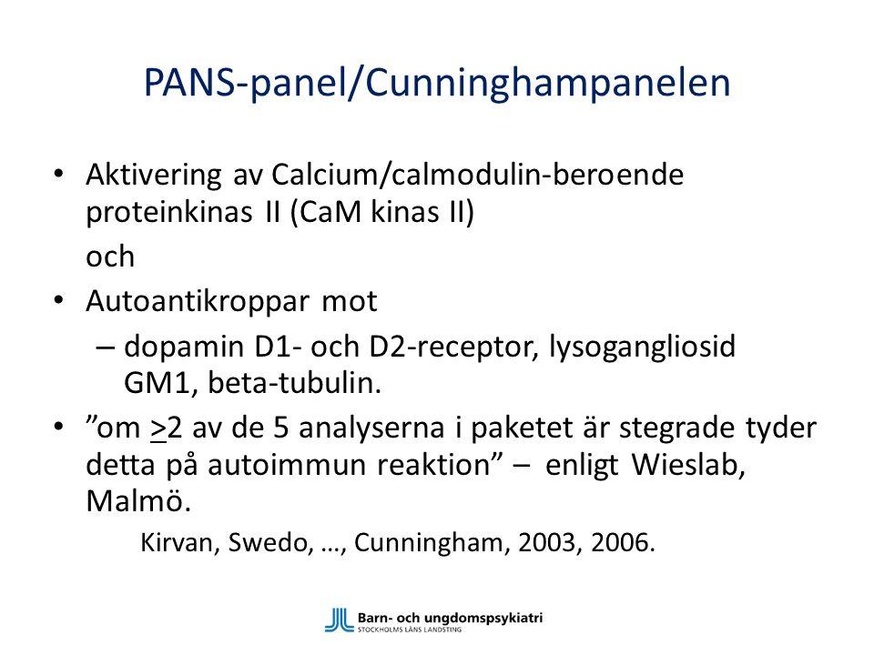 PANS-panel/Cunninghampanelen Aktivering av Calcium/calmodulin-beroende proteinkinas II (CaM kinas II) och Autoantikroppar mot – dopamin D1- och D2-rec