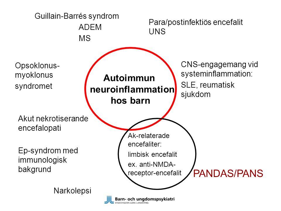 PANDAS/PANS ADEM MS Guillain-Barrés syndrom Para/postinfektiös encefalit UNS Ak-relaterade encefaliter: limbisk encefalit ex. anti-NMDA- receptor-ence