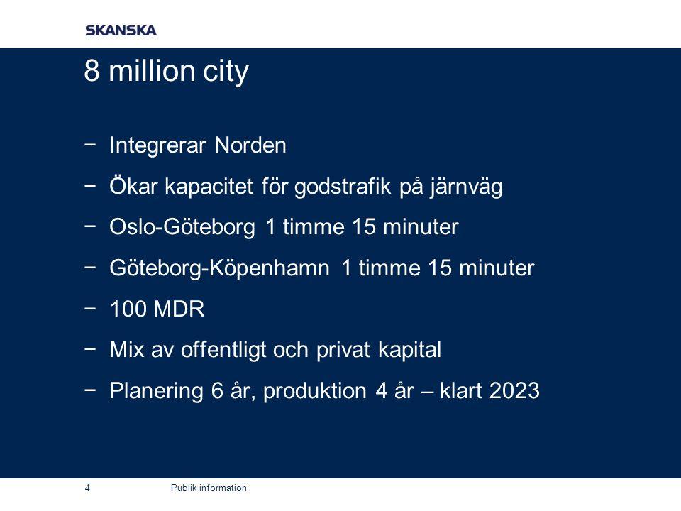 Publik information 8 million city −Integrerar Norden −Ökar kapacitet för godstrafik på järnväg −Oslo-Göteborg 1 timme 15 minuter −Göteborg-Köpenhamn 1 timme 15 minuter −100 MDR −Mix av offentligt och privat kapital −Planering 6 år, produktion 4 år – klart 2023 4