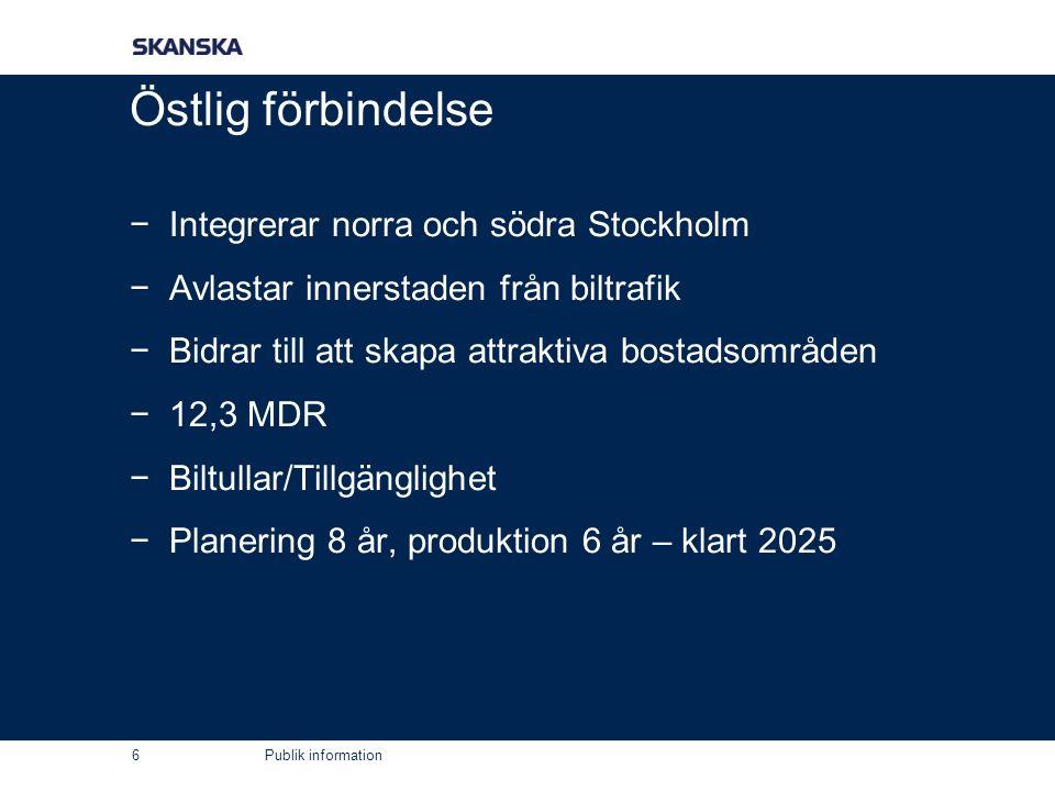 Publik information Östlig förbindelse −Integrerar norra och södra Stockholm −Avlastar innerstaden från biltrafik −Bidrar till att skapa attraktiva bostadsområden −12,3 MDR −Biltullar/Tillgänglighet −Planering 8 år, produktion 6 år – klart 2025 6