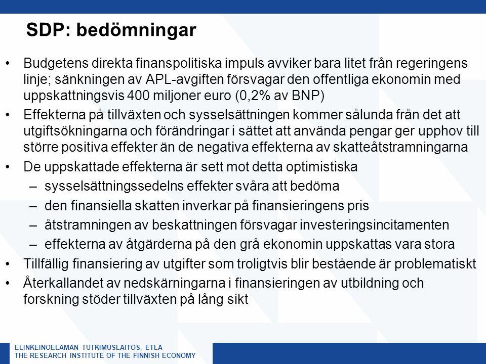 ELINKEINOELÄMÄN TUTKIMUSLAITOS, ETLA THE RESEARCH INSTITUTE OF THE FINNISH ECONOMY SDP: bedömningar Budgetens direkta finanspolitiska impuls avviker bara litet från regeringens linje; sänkningen av APL-avgiften försvagar den offentliga ekonomin med uppskattningsvis 400 miljoner euro (0,2% av BNP) Effekterna på tillväxten och sysselsättningen kommer sålunda från det att utgiftsökningarna och förändringar i sättet att använda pengar ger upphov till större positiva effekter än de negativa effekterna av skatteåtstramningarna De uppskattade effekterna är sett mot detta optimistiska –sysselsättningssedelns effekter svåra att bedöma –den finansiella skatten inverkar på finansieringens pris –åtstramningen av beskattningen försvagar investeringsincitamenten –effekterna av åtgärderna på den grå ekonomin uppskattas vara stora Tillfällig finansiering av utgifter som troligtvis blir bestående är problematiskt Återkallandet av nedskärningarna i finansieringen av utbildning och forskning stöder tillväxten på lång sikt