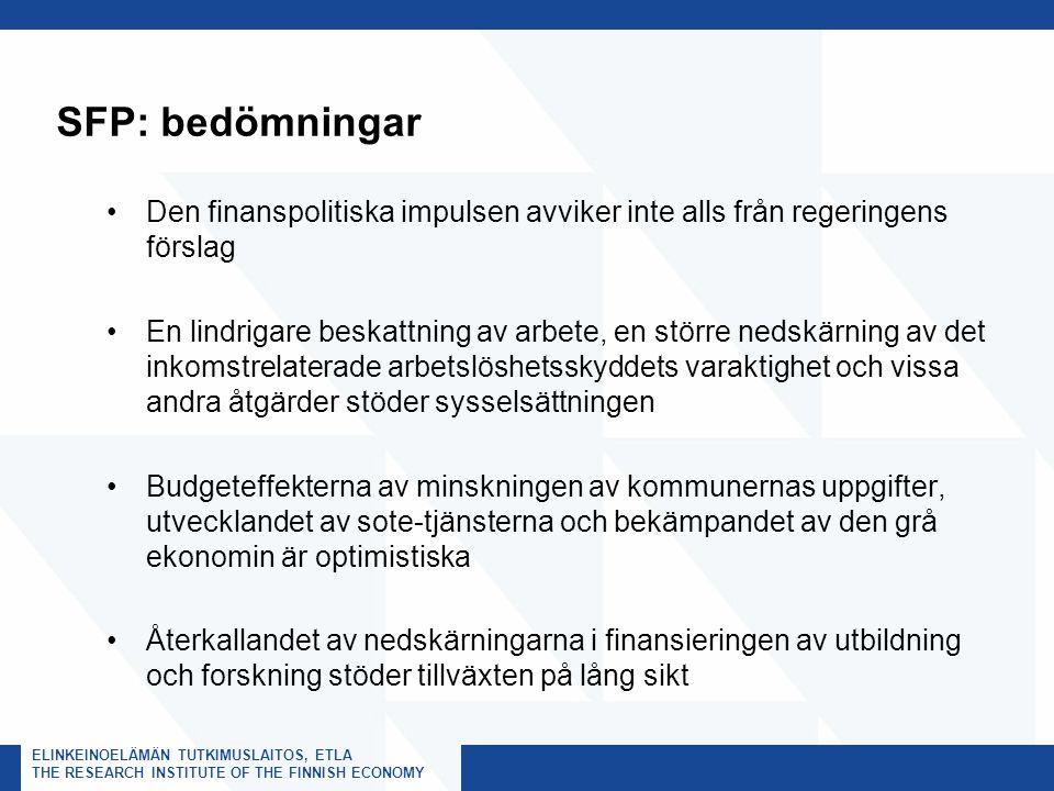 ELINKEINOELÄMÄN TUTKIMUSLAITOS, ETLA THE RESEARCH INSTITUTE OF THE FINNISH ECONOMY SFP: bedömningar Den finanspolitiska impulsen avviker inte alls från regeringens förslag En lindrigare beskattning av arbete, en större nedskärning av det inkomstrelaterade arbetslöshetsskyddets varaktighet och vissa andra åtgärder stöder sysselsättningen Budgeteffekterna av minskningen av kommunernas uppgifter, utvecklandet av sote-tjänsterna och bekämpandet av den grå ekonomin är optimistiska Återkallandet av nedskärningarna i finansieringen av utbildning och forskning stöder tillväxten på lång sikt