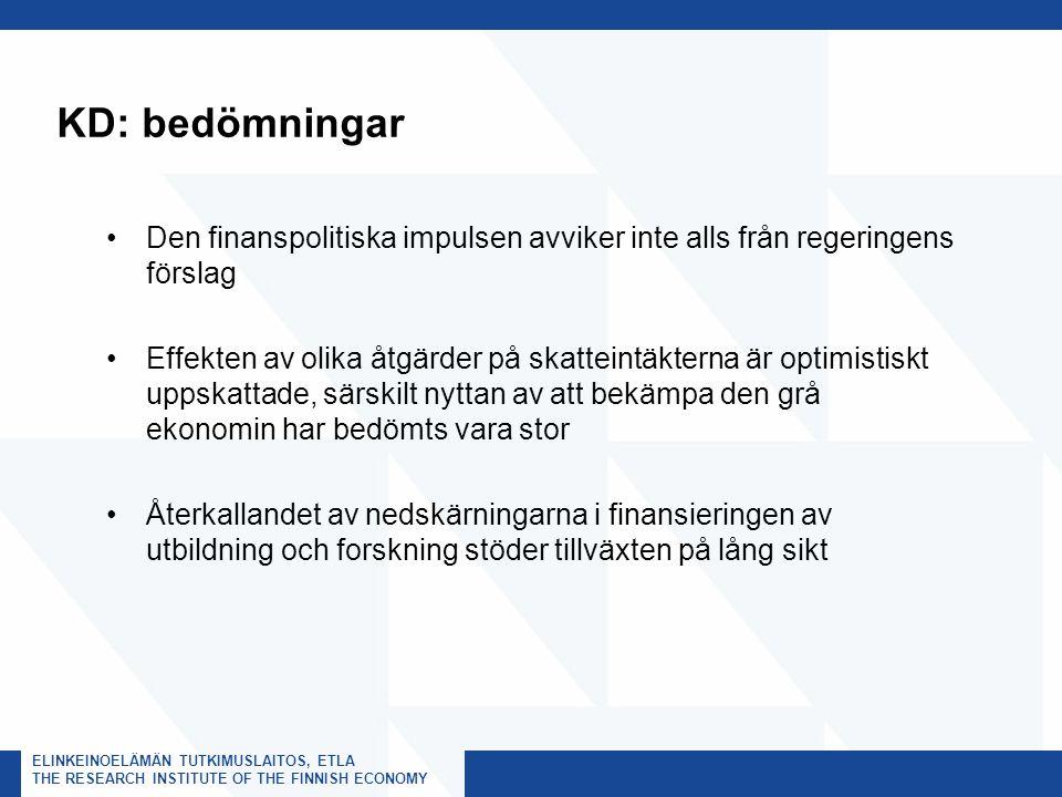 ELINKEINOELÄMÄN TUTKIMUSLAITOS, ETLA THE RESEARCH INSTITUTE OF THE FINNISH ECONOMY KD: bedömningar Den finanspolitiska impulsen avviker inte alls från