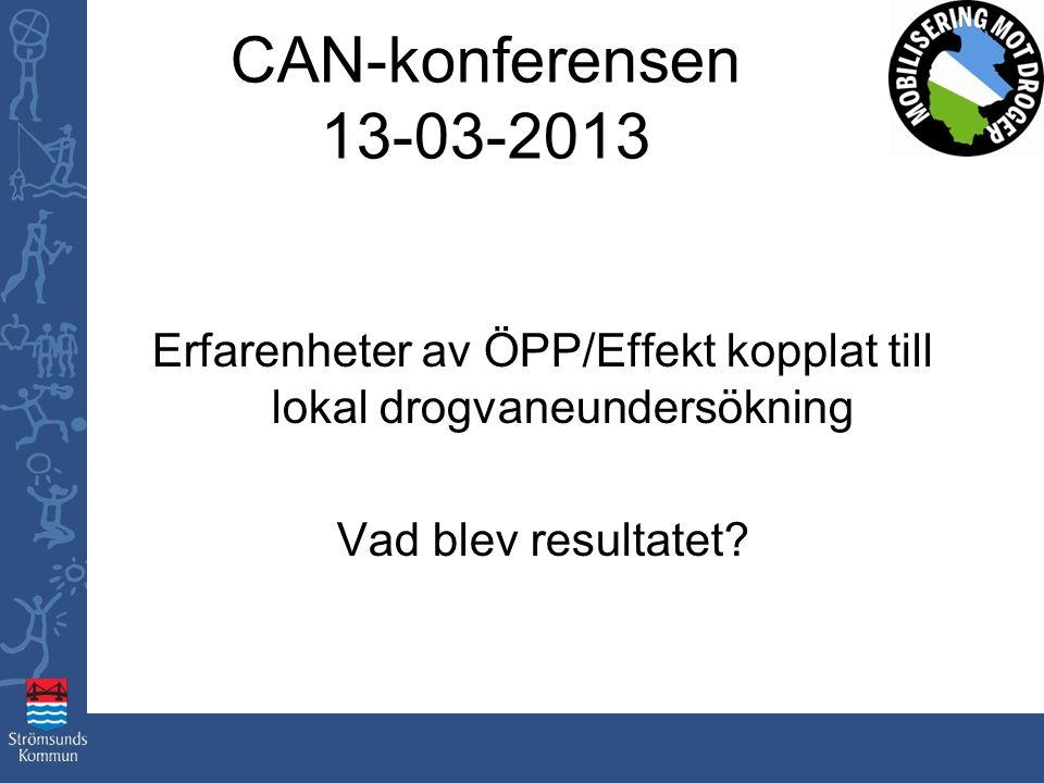 CAN-konferensen 13-03-2013 Erfarenheter av ÖPP/Effekt kopplat till lokal drogvaneundersökning Vad blev resultatet