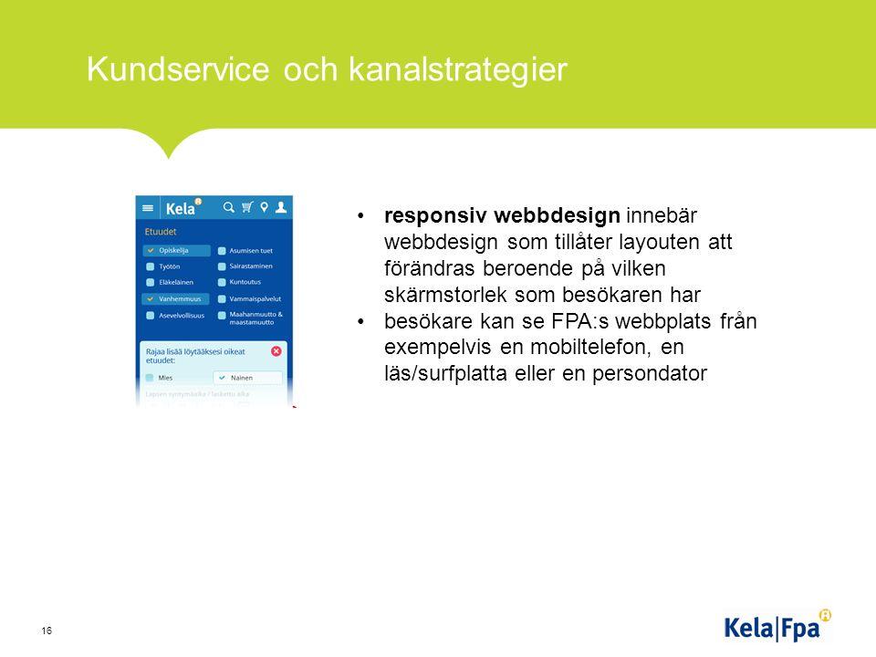 Kundservice och kanalstrategier 16 responsiv webbdesign innebär webbdesign som tillåter layouten att förändras beroende på vilken skärmstorlek som besökaren har besökare kan se FPA:s webbplats från exempelvis en mobiltelefon, en läs/surfplatta eller en persondator