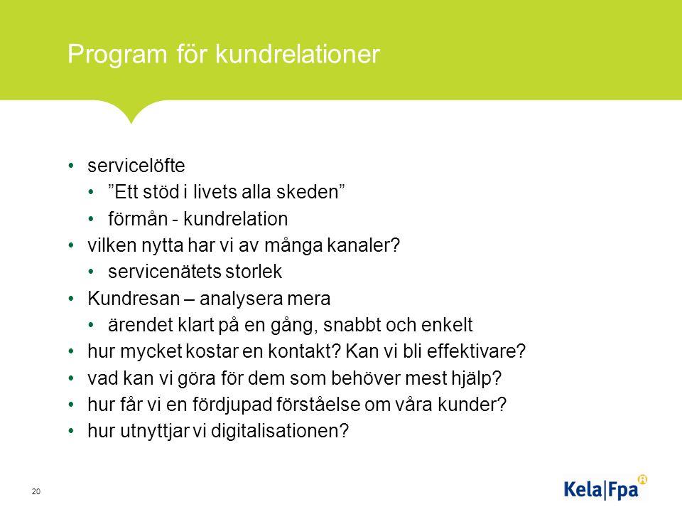 Program för kundrelationer servicelöfte Ett stöd i livets alla skeden förmån - kundrelation vilken nytta har vi av många kanaler.