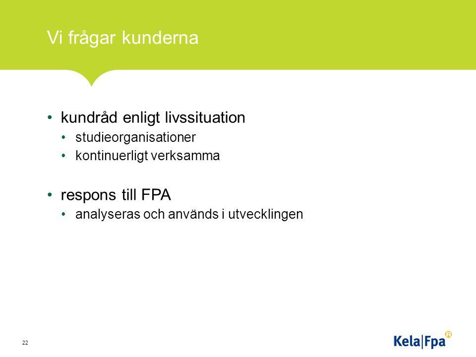 Vi frågar kunderna kundråd enligt livssituation studieorganisationer kontinuerligt verksamma respons till FPA analyseras och används i utvecklingen 22