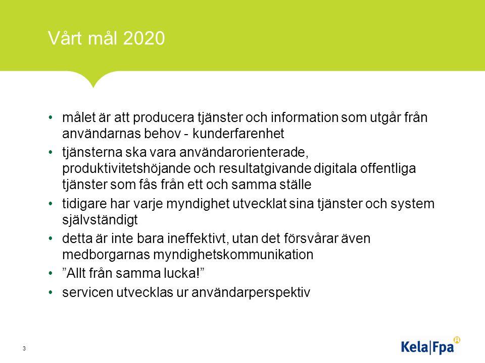Vårt mål 2020 målet är att producera tjänster och information som utgår från användarnas behov - kunderfarenhet tjänsterna ska vara användarorienterade, produktivitetshöjande och resultatgivande digitala offentliga tjänster som fås från ett och samma ställe tidigare har varje myndighet utvecklat sina tjänster och system självständigt detta är inte bara ineffektivt, utan det försvårar även medborgarnas myndighetskommunikation Allt från samma lucka! servicen utvecklas ur användarperspektiv 3