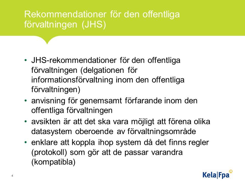 Rekommendationer för den offentliga förvaltningen (JHS) JHS-rekommendationer för den offentliga förvaltningen (delgationen för informationsförvaltning inom den offentliga förvaltningen) anvisning för genemsamt förfarande inom den offentliga förvaltningen avsikten är att det ska vara möjligt att förena olika datasystem oberoende av förvaltningsområde enklare att koppla ihop system då det finns regler (protokoll) som gör att de passar varandra (kompatibla) 4