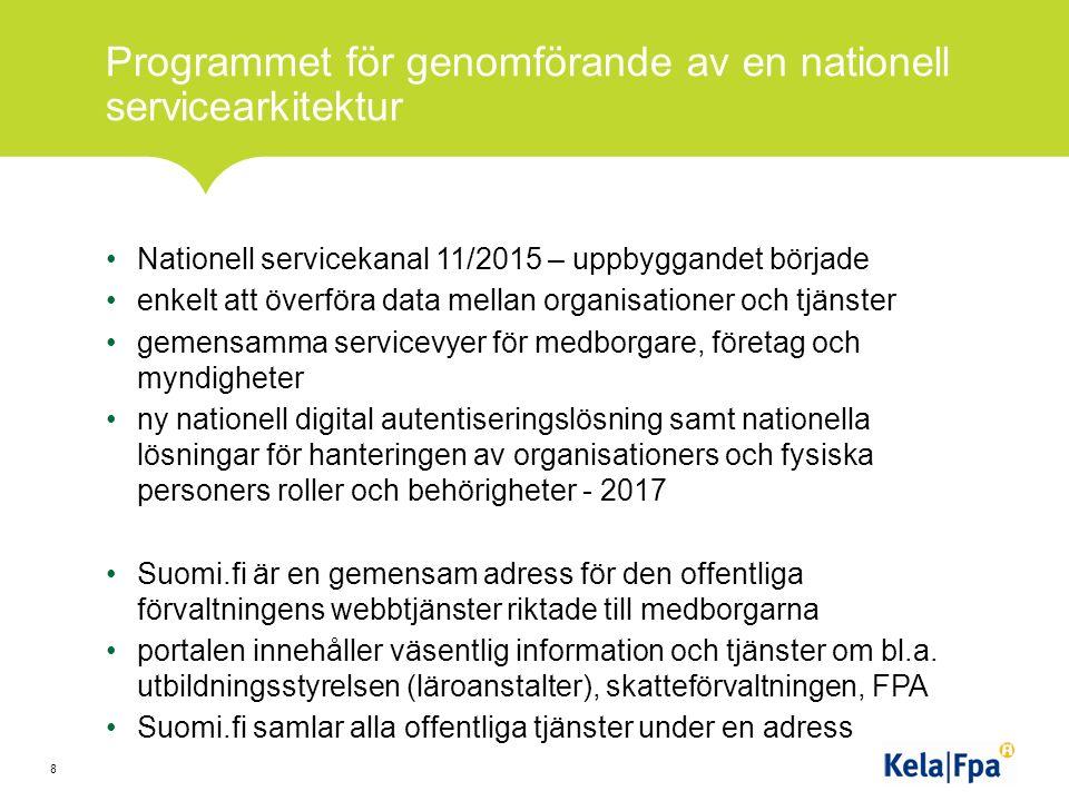 Programmet för genomförande av en nationell servicearkitektur Nationell servicekanal 11/2015 – uppbyggandet började enkelt att överföra data mellan organisationer och tjänster gemensamma servicevyer för medborgare, företag och myndigheter ny nationell digital autentiseringslösning samt nationella lösningar för hanteringen av organisationers och fysiska personers roller och behörigheter - 2017 Suomi.fi är en gemensam adress för den offentliga förvaltningens webbtjänster riktade till medborgarna portalen innehåller väsentlig information och tjänster om bl.a.