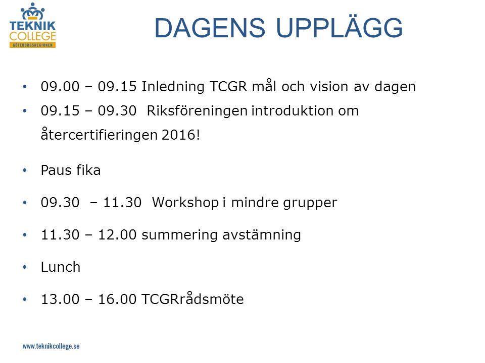 09.00 – 09.15 Inledning TCGR mål och vision av dagen 09.15 – 09.30 Riksföreningen introduktion om återcertifieringen 2016.