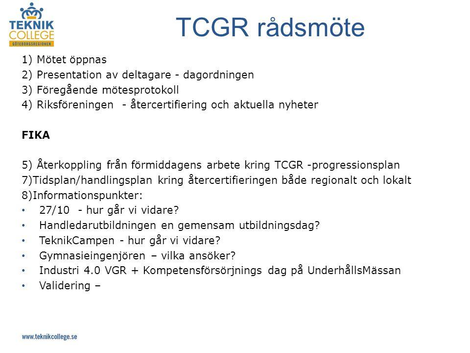 1) Mötet öppnas 2) Presentation av deltagare - dagordningen 3) Föregående mötesprotokoll 4) Riksföreningen - återcertifiering och aktuella nyheter FIKA 5) Återkoppling från förmiddagens arbete kring TCGR -progressionsplan 7)Tidsplan/handlingsplan kring återcertifieringen både regionalt och lokalt 8)Informationspunkter: 27/10 - hur går vi vidare.