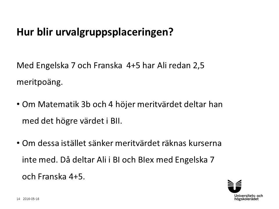 Sv Med Engelska 7 och Franska 4+5 har Ali redan 2,5 meritpoäng.
