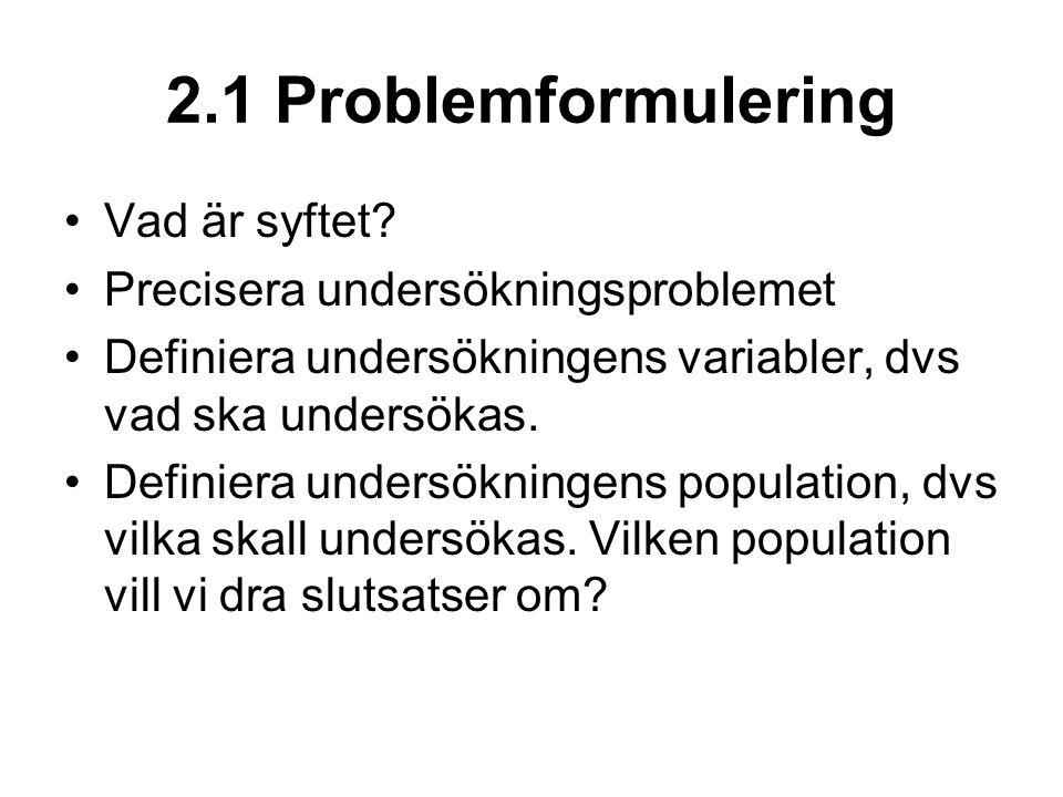 2.1 Problemformulering Vad är syftet.