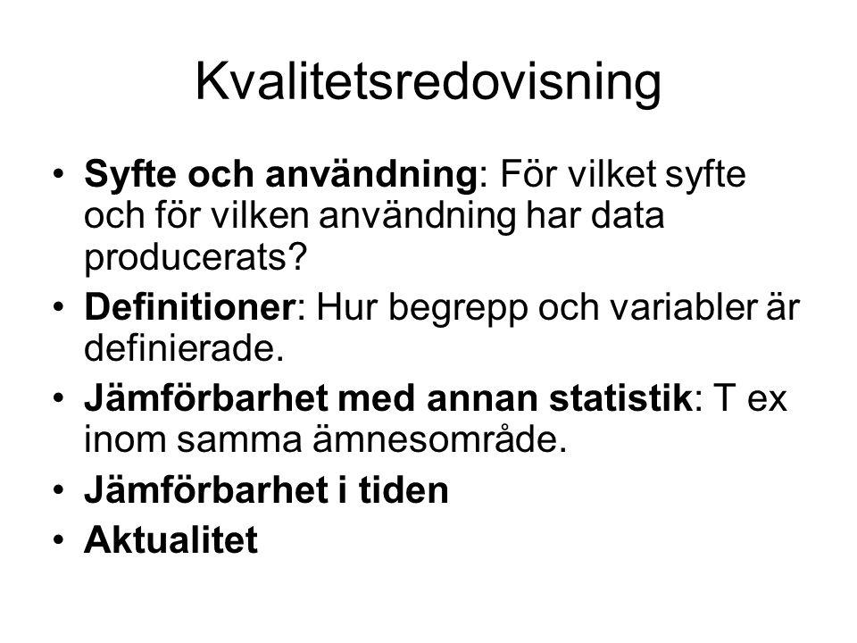 Kvalitetsredovisning Syfte och användning: För vilket syfte och för vilken användning har data producerats.