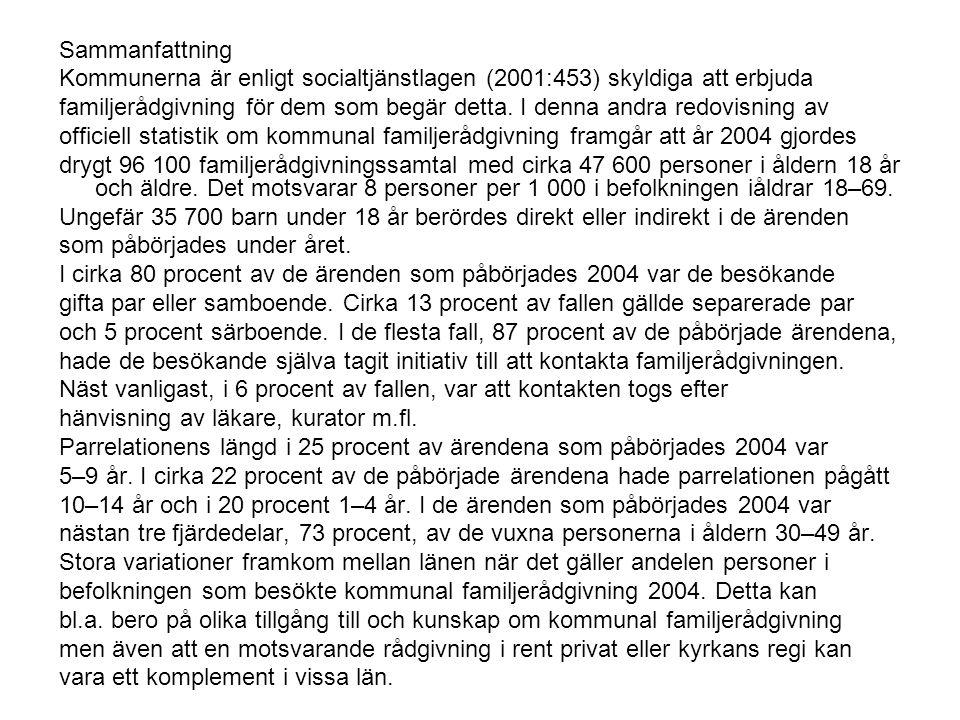 Sammanfattning Kommunerna är enligt socialtjänstlagen (2001:453) skyldiga att erbjuda familjerådgivning för dem som begär detta.