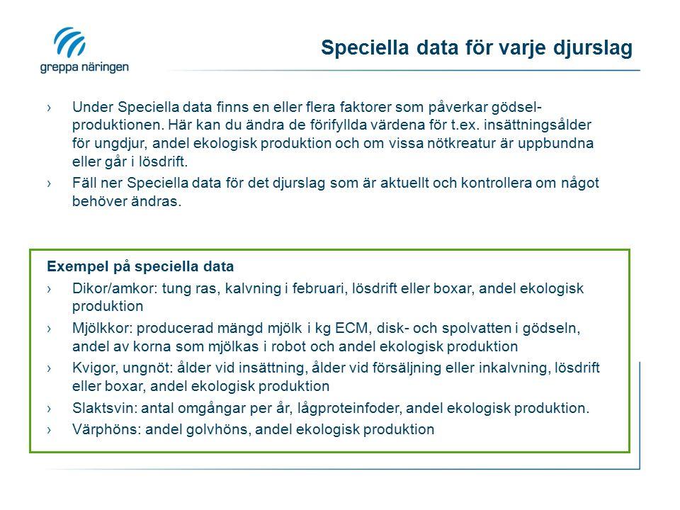 Speciella data för varje djurslag ›Under Speciella data finns en eller flera faktorer som påverkar gödsel- produktionen.
