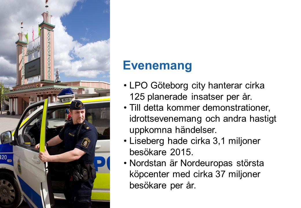 12 Evenemang LPO Göteborg city hanterar cirka 125 planerade insatser per år.