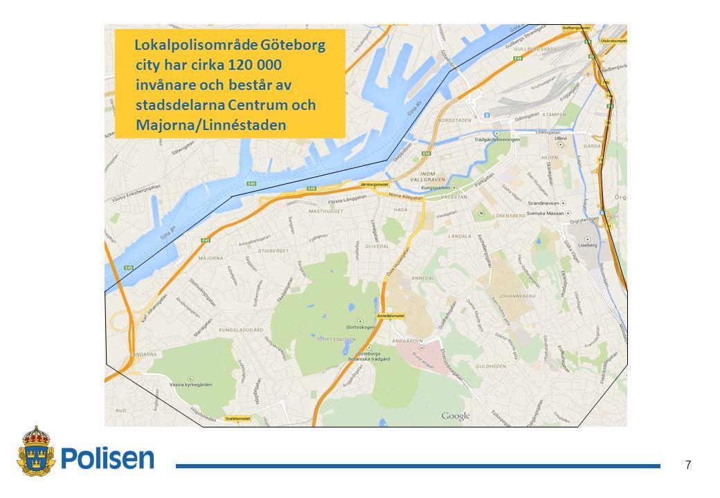 7 Lokalpolisområde Göteborg city har cirka 120 000 invånare och består av stadsdelarna Centrum och Majorna/Linnéstaden
