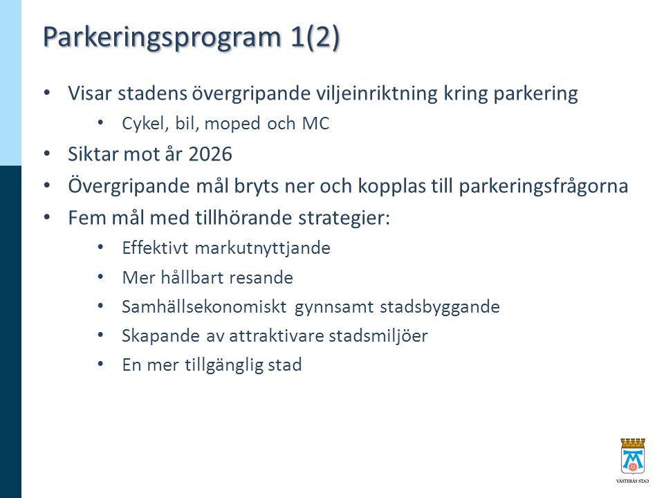 Parkeringsprogram 1(2) Visar stadens övergripande viljeinriktning kring parkering Cykel, bil, moped och MC Siktar mot år 2026 Övergripande mål bryts ner och kopplas till parkeringsfrågorna Fem mål med tillhörande strategier: Effektivt markutnyttjande Mer hållbart resande Samhällsekonomiskt gynnsamt stadsbyggande Skapande av attraktivare stadsmiljöer En mer tillgänglig stad