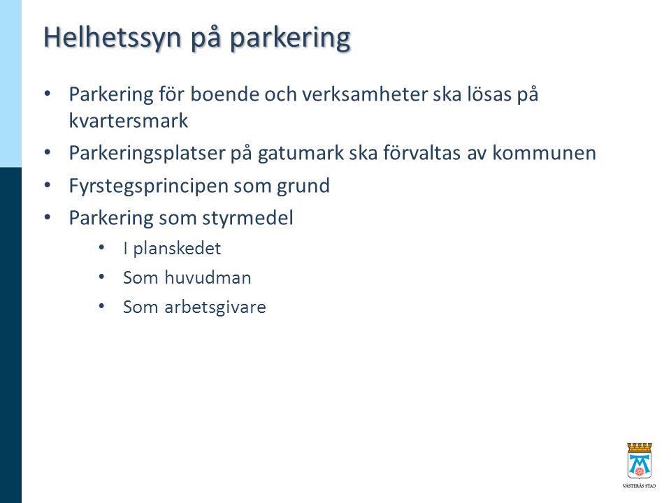 Helhetssyn på parkering Parkering för boende och verksamheter ska lösas på kvartersmark Parkeringsplatser på gatumark ska förvaltas av kommunen Fyrstegsprincipen som grund Parkering som styrmedel I planskedet Som huvudman Som arbetsgivare