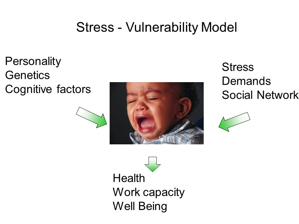 Personality Genetics Cognitive factors Stress Demands Social Network Health Work capacity Well Being Stress - Vulnerability Model