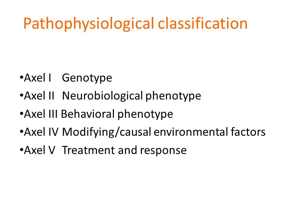 Neurovetenskaplig agenda – patofysiologisk klassifikation Axel I Genotype Axel II Neurobiological phenotype Axel III Behavioral phenotype Axel IV Modifying/causal environmental factors Axel V Treatment and response