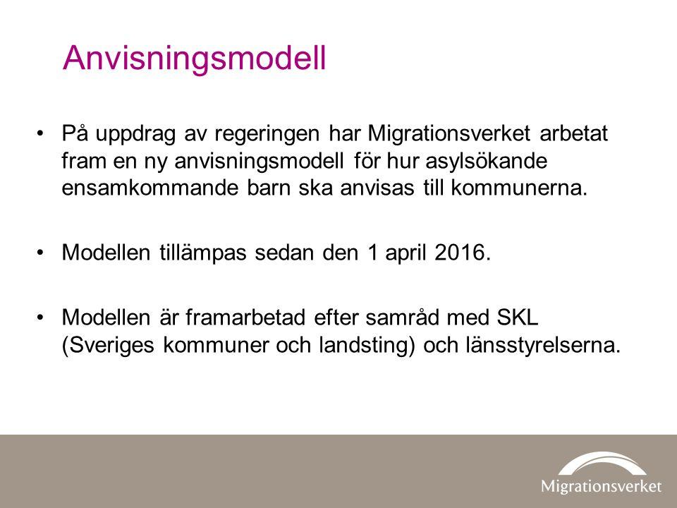 Anvisningsmodell På uppdrag av regeringen har Migrationsverket arbetat fram en ny anvisningsmodell för hur asylsökande ensamkommande barn ska anvisas