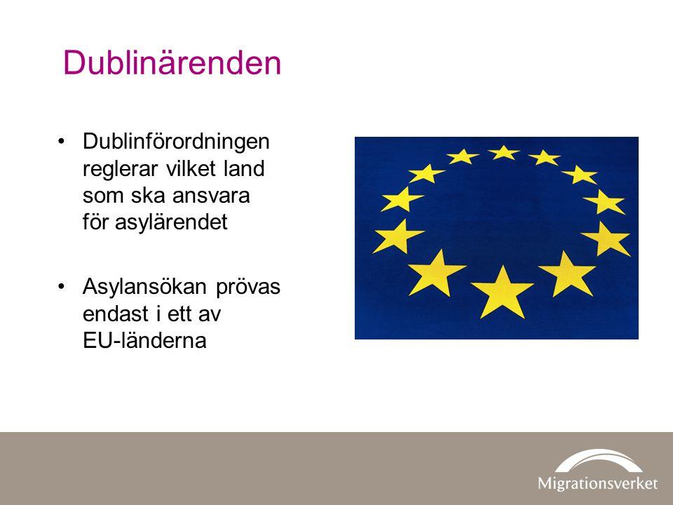 Dublinärenden Dublinförordningen reglerar vilket land som ska ansvara för asylärendet Asylansökan prövas endast i ett av EU-länderna