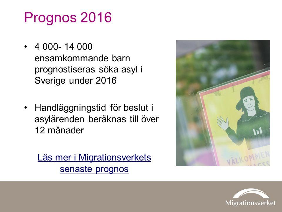 Prognos 2016 4 000- 14 000 ensamkommande barn prognostiseras söka asyl i Sverige under 2016 Handläggningstid för beslut i asylärenden beräknas till över 12 månader Läs mer i Migrationsverkets senaste prognos