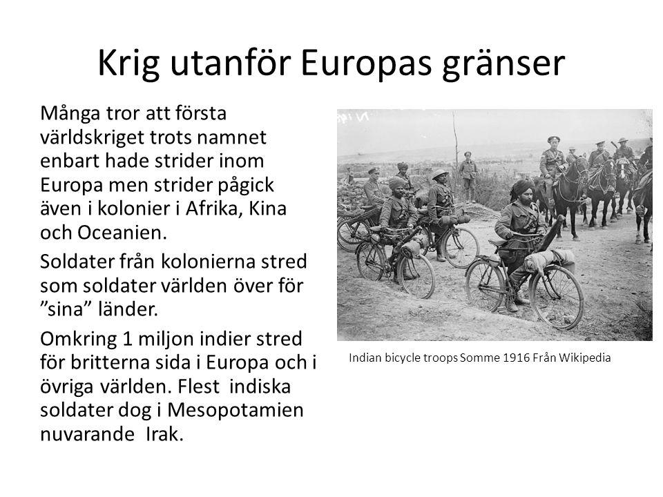 Krig utanför Europas gränser Många tror att första världskriget trots namnet enbart hade strider inom Europa men strider pågick även i kolonier i Afrika, Kina och Oceanien.