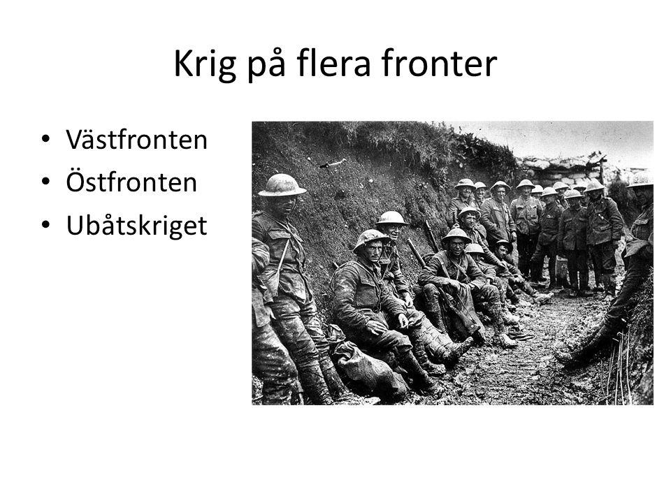 Krig på flera fronter Västfronten Östfronten Ubåtskriget