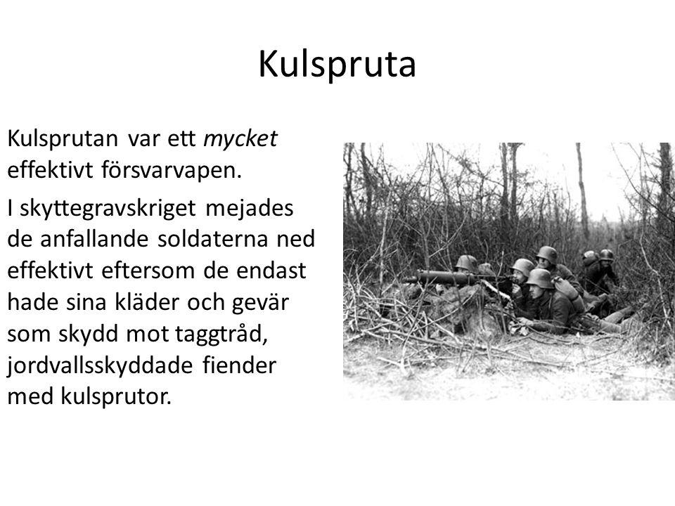 Kulspruta Kulsprutan var ett mycket effektivt försvarvapen.
