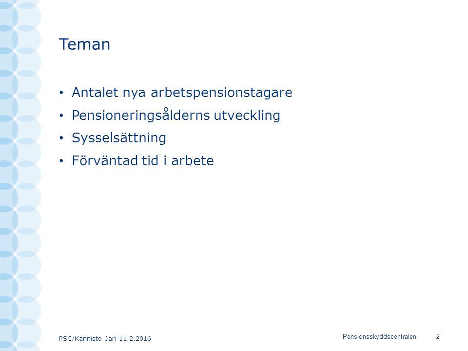 PSC/Kannisto Jari 11.2.2016 Pensionsskyddscentralen2 Teman Antalet nya arbetspensionstagare Pensioneringsålderns utveckling Sysselsättning Förväntad t