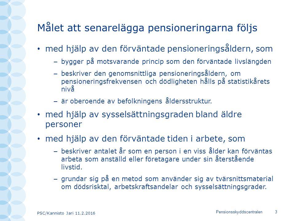 PSC/Kannisto Jari 11.2.2016 Pensionsskyddscentralen3 Målet att senarelägga pensioneringarna följs med hjälp av den förväntade pensioneringsåldern, som – bygger på motsvarande princip som den förväntade livslängden – beskriver den genomsnittliga pensioneringsåldern, om pensioneringsfrekvensen och dödligheten hålls på statistikårets nivå – är oberoende av befolkningens åldersstruktur.