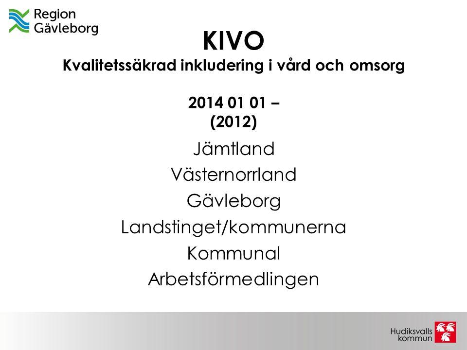 KIVO Kvalitetssäkrad inkludering i vård och omsorg 2014 01 01 – (2012) Jämtland Västernorrland Gävleborg Landstinget/kommunerna Kommunal Arbetsförmedl