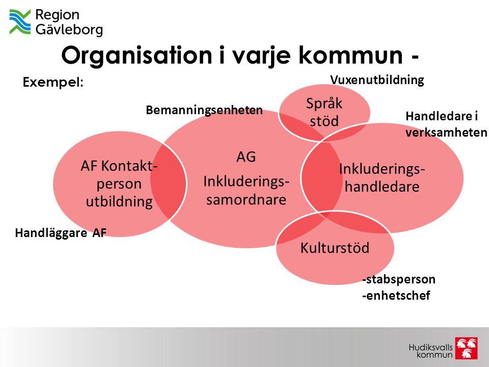 Organisation i varje kommun - AG Inkluderings- samordnare Språk stöd Inkluderings- handledare Kulturstöd AF Kontakt- person utbildning Handläggare AF