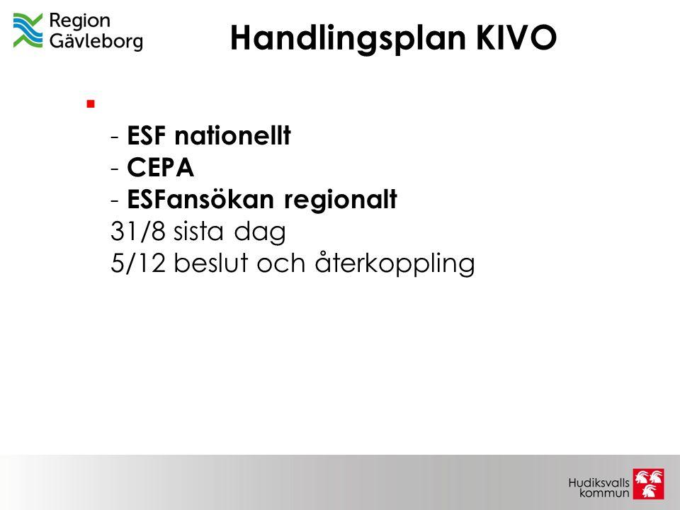 Handlingsplan KIVO  - ESF nationellt - CEPA - ESFansökan regionalt 31/8 sista dag 5/12 beslut och återkoppling