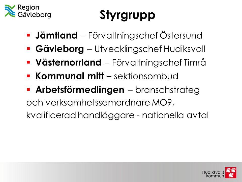 Styrgrupp  Jämtland – Förvaltningschef Östersund  Gävleborg – Utvecklingschef Hudiksvall  Västernorrland – Förvaltningschef Timrå  Kommunal mitt –