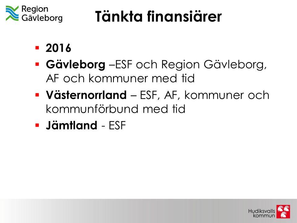 Tänkta finansiärer  2016  Gävleborg –ESF och Region Gävleborg, AF och kommuner med tid  Västernorrland – ESF, AF, kommuner och kommunförbund med ti