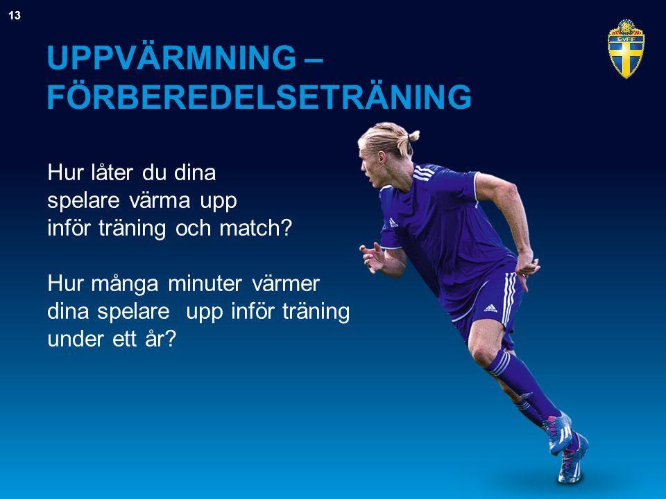 UPPVÄRMNING – FÖRBEREDELSETRÄNING Hur låter du dina spelare värma upp inför träning och match? Hur många minuter värmer dina spelare upp inför träning