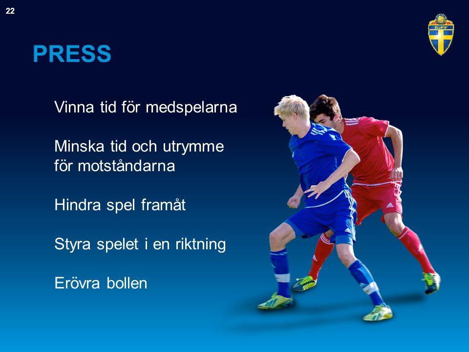 PRESS Vinna tid för medspelarna Minska tid och utrymme för motståndarna Hindra spel framåt Styra spelet i en riktning Erövra bollen 22