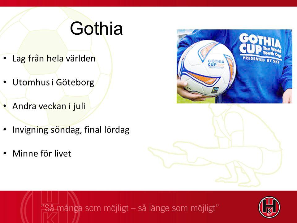 Lag från hela världen Utomhus i Göteborg Andra veckan i juli Invigning söndag, final lördag Minne för livet Gothia