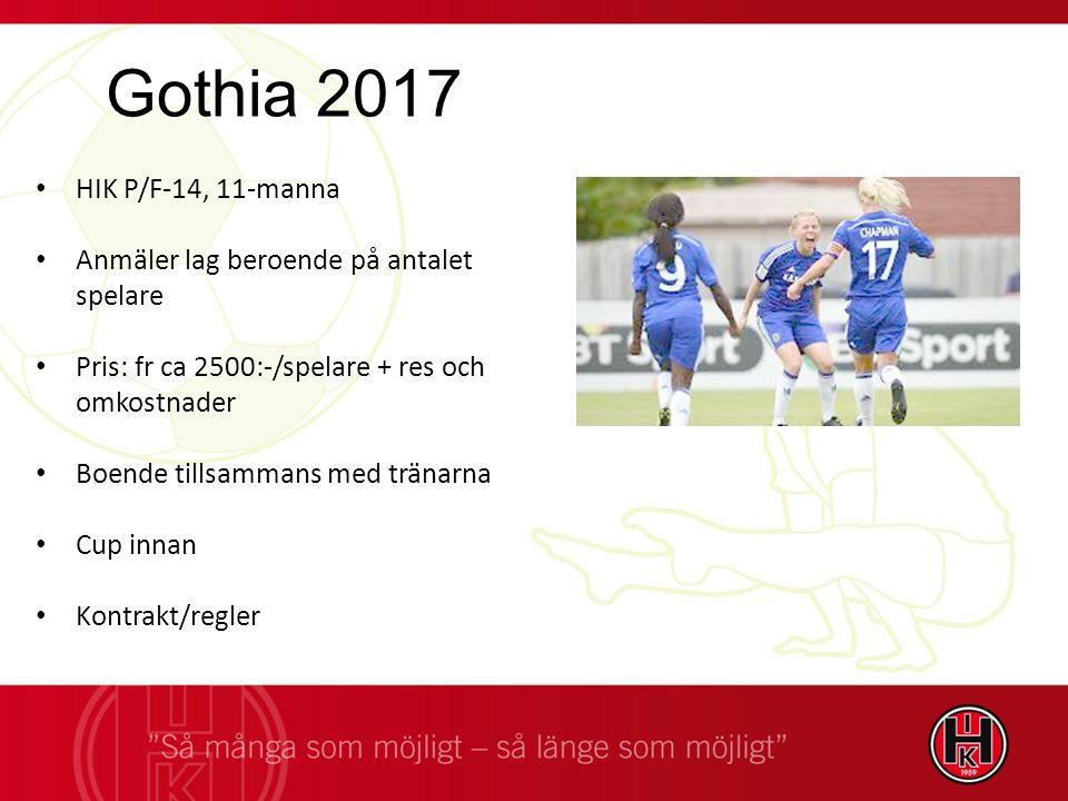 HIK P/F-14, 11-manna Anmäler lag beroende på antalet spelare Pris: fr ca 2500:-/spelare + res och omkostnader Boende tillsammans med tränarna Cup innan Kontrakt/regler Gothia 2017