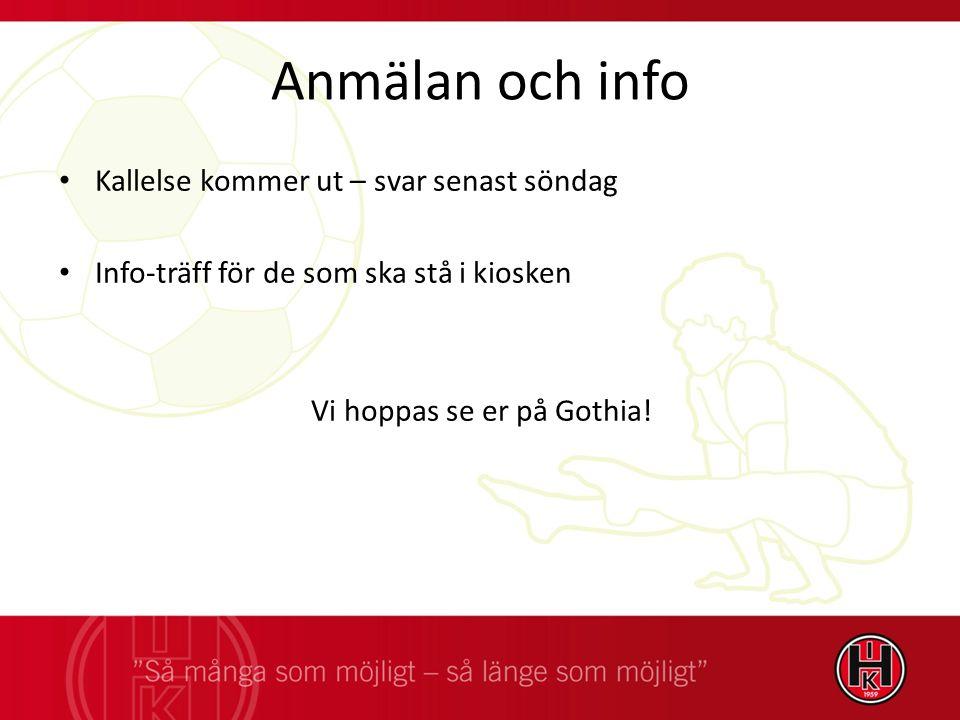 Anmälan och info Kallelse kommer ut – svar senast söndag Info-träff för de som ska stå i kiosken Vi hoppas se er på Gothia!