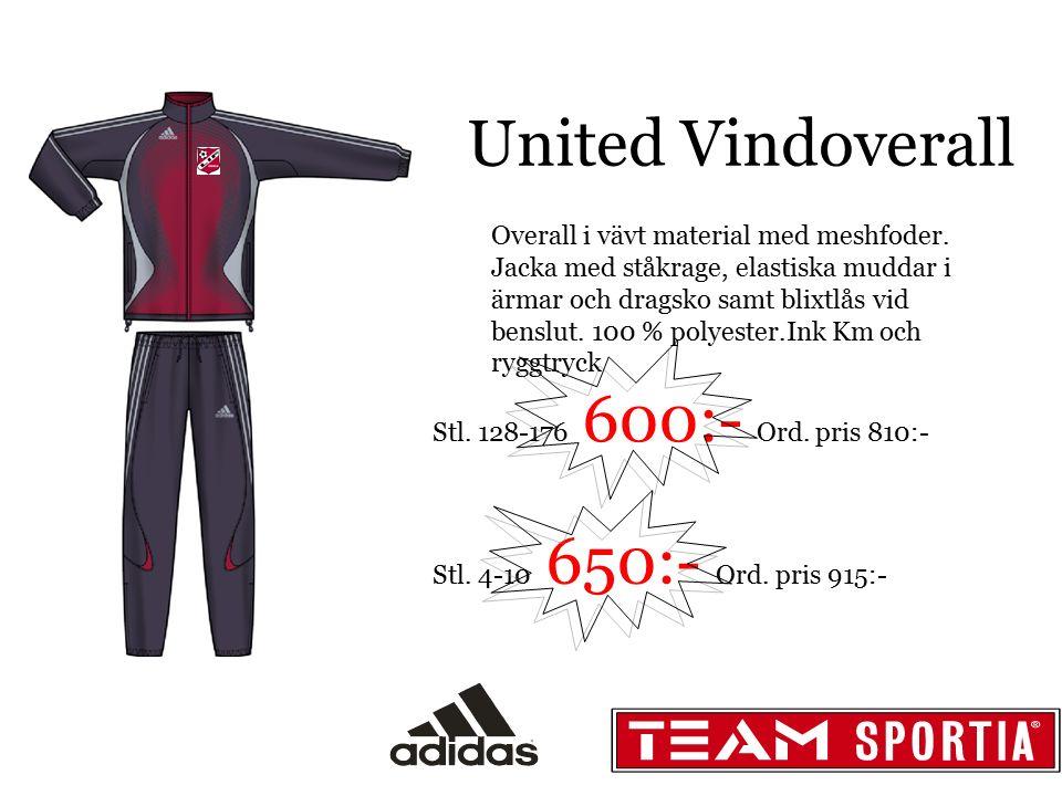 United Vindoverall Overall i vävt material med meshfoder. Jacka med ståkrage, elastiska muddar i ärmar och dragsko samt blixtlås vid benslut. 100 % po