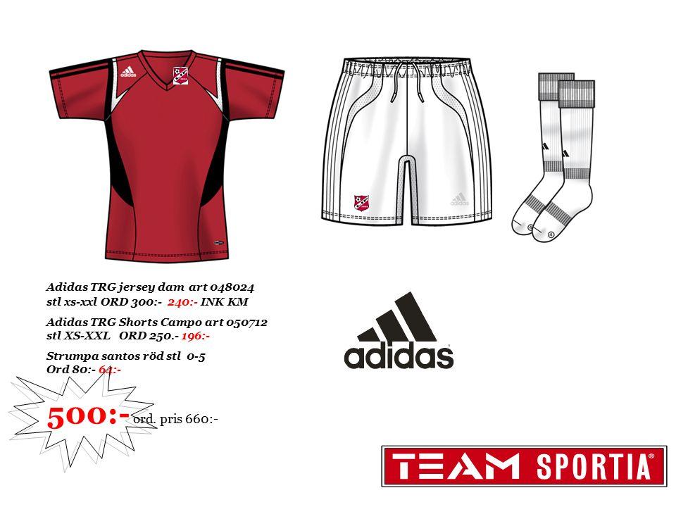 Adidas TRG jersey dam art 048024 stl xs-xxl ORD 300:- 240:- INK KM Adidas TRG Shorts Campo art 050712 stl XS-XXL ORD 250.- 196:- Strumpa santos röd st
