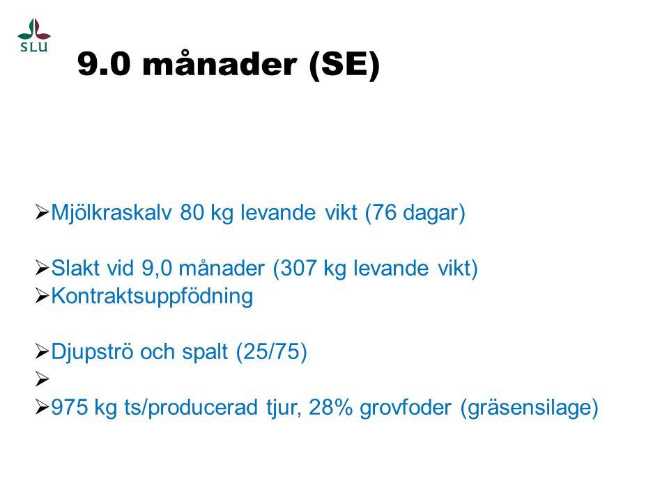 9.0 månader (SE)  Mjölkraskalv 80 kg levande vikt (76 dagar)  Slakt vid 9,0 månader (307 kg levande vikt)  Kontraktsuppfödning  Djupströ och spalt (25/75)   975 kg ts/producerad tjur, 28% grovfoder (gräsensilage)