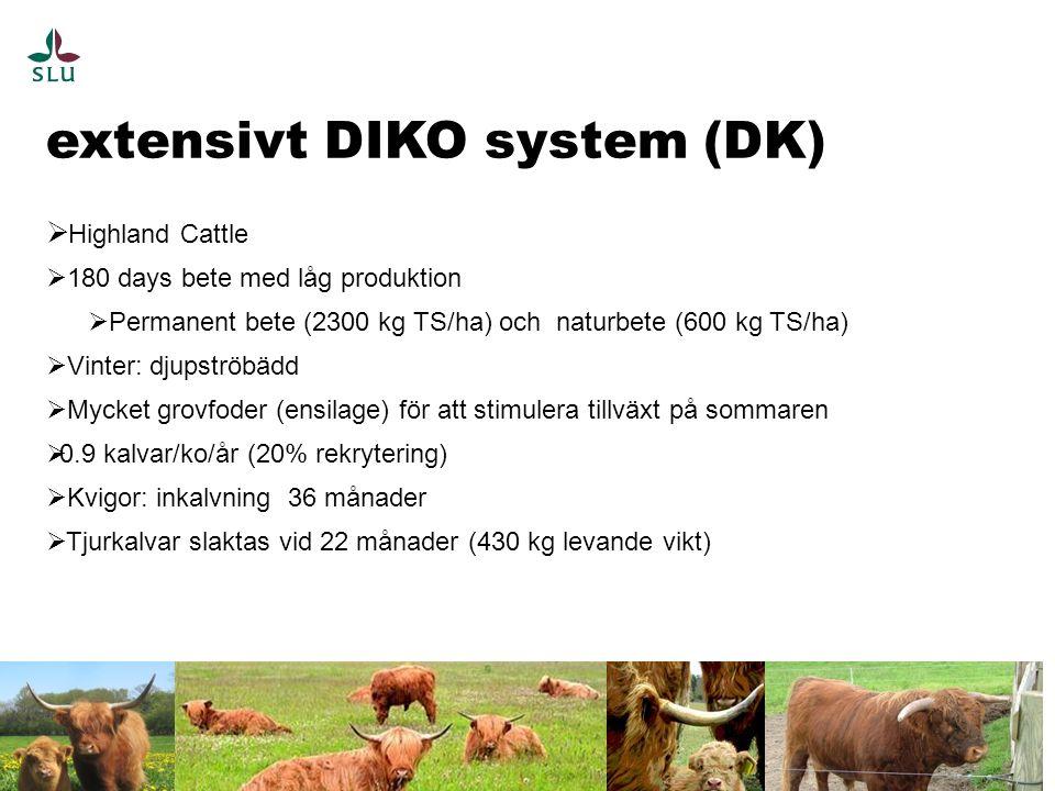extensivt DIKO system (DK) 5  Highland Cattle  180 days bete med låg produktion  Permanent bete (2300 kg TS/ha) och naturbete (600 kg TS/ha)  Vinter: djupströbädd  Mycket grovfoder (ensilage) för att stimulera tillväxt på sommaren  0.9 kalvar/ko/år (20% rekrytering)  Kvigor: inkalvning 36 månader  Tjurkalvar slaktas vid 22 månader (430 kg levande vikt)