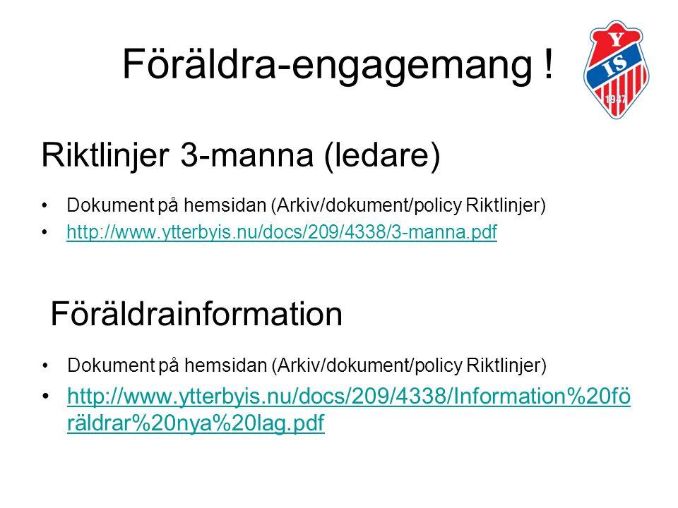 Riktlinjer 3-manna (ledare) Dokument på hemsidan (Arkiv/dokument/policy Riktlinjer) http://www.ytterbyis.nu/docs/209/4338/3-manna.pdf Föräldrainformation Dokument på hemsidan (Arkiv/dokument/policy Riktlinjer) http://www.ytterbyis.nu/docs/209/4338/Information%20fö räldrar%20nya%20lag.pdfhttp://www.ytterbyis.nu/docs/209/4338/Information%20fö räldrar%20nya%20lag.pdf Föräldra-engagemang !